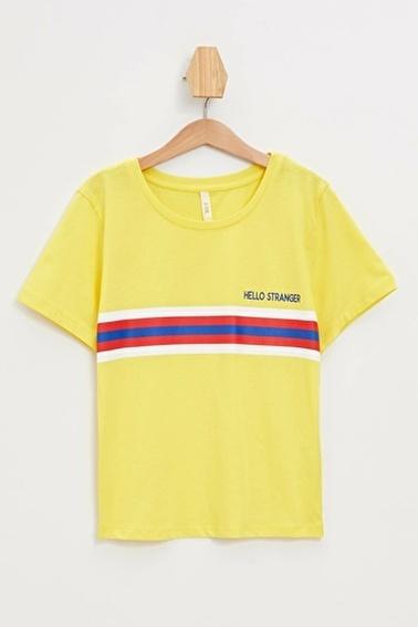 DeFacto Baskılı Slim Fit Kısa Kollu T-shirt Sarı